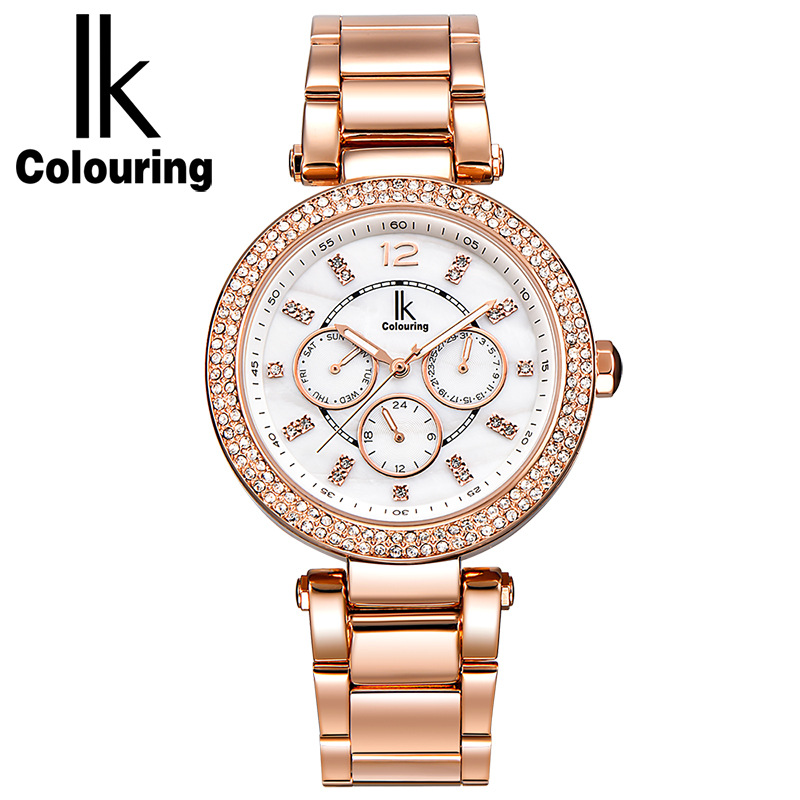 IK Colouring Womens Full Steel Rhinestone Waterproof Women Quartz Calendar Watch Rose Gold все цены