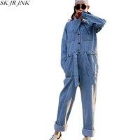 Для женщин джинсовые комбинезоны 2018 Демисезонный Модные свободные Повседневное с длинным рукавом джинсовые комбинезоны вышивка Harajuku штан