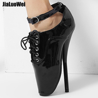 jialuowe 18cm/7 Ultra High Spike Heel Black Ballet shoes lace up Pointed Toe sexy Fetish thin heel ballet ankle shoes plus size