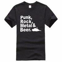 Teenage Natural Cotton Printed Crew Neck Short Sleeve Fashion 2017 Punk Rock Metal Beer T Shirt