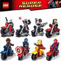 8PCS The Avengers Super Heroes Motorcycle Figures Building Blocks Set Captain America Ironman spiderman Superman Bricks Toys