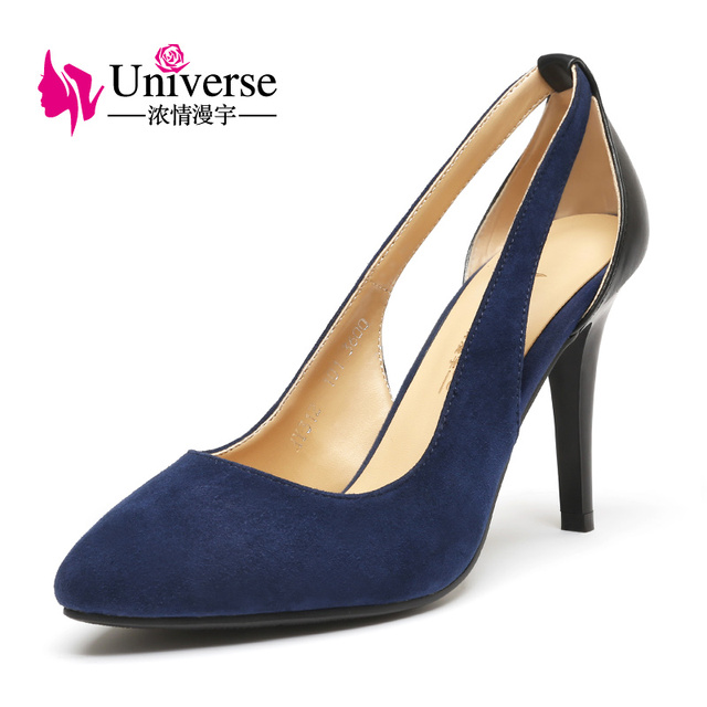6c7bf24129f Universe Kid Suede Slingback Pumps Women Black Blue Thin High Heels Shoes  Pointed Toe Shallow Mouth Party Dress Lady Shoes C099