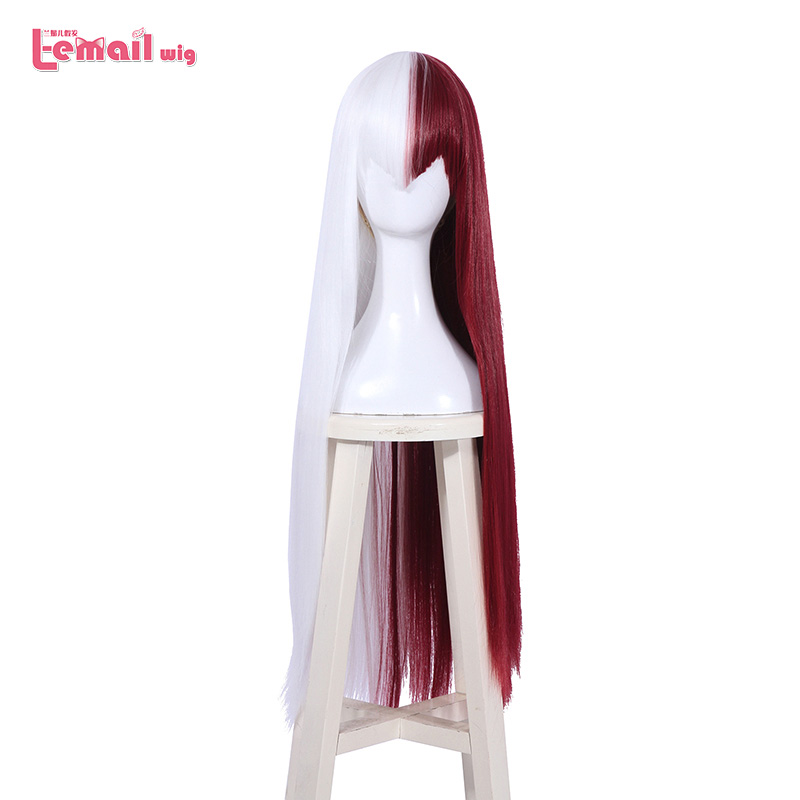 L-email Wig My Hero Academia Cosplay Wigs Shouto Todoroki 80cm Long Women Halloween Synthetic Hair Perucas Cosplay Wig