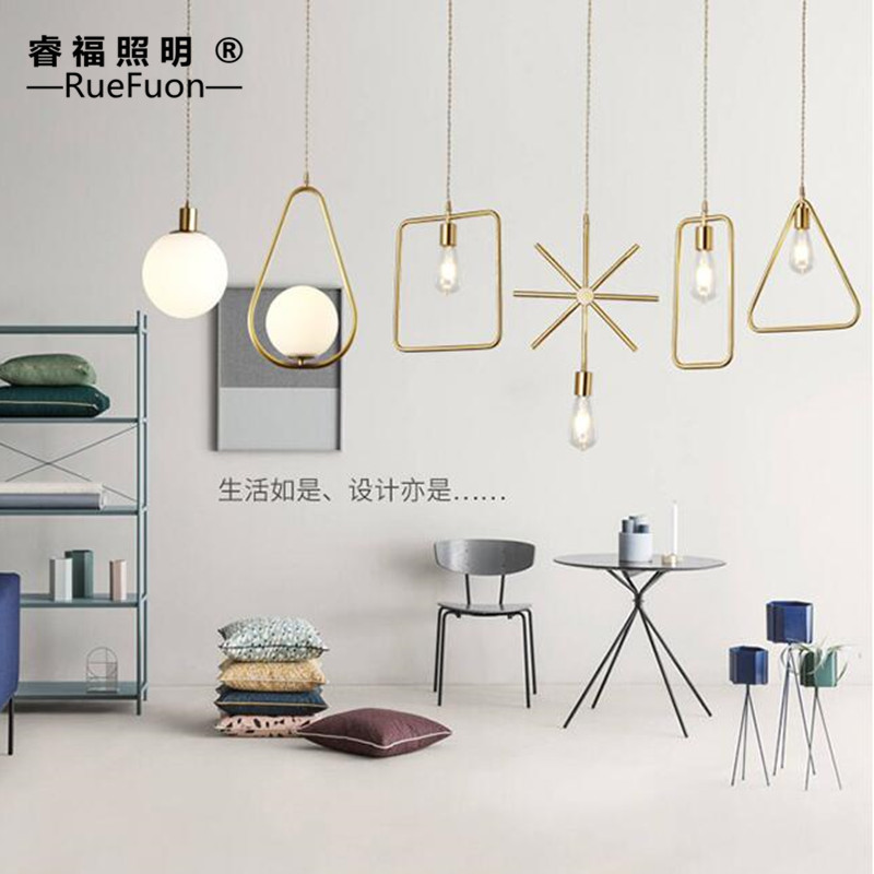 Contracted geometric line 2 d art full copper chandelier restaurant clothing store window display shelves LED lamps