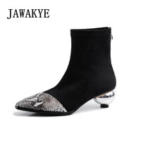 Slim Fit Elastic Ankle Boots Snake Pattern Leather Patchwork Sock Boots Pointed Toe Round Heel Winter Shoes Women Short Bootas