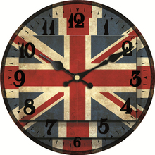 MEISTAR Patriotism National Lag Clock Silent Living Study Kitchen Gallery Clock Wall Art Watches Vintage Large Wall Clock Gift цена