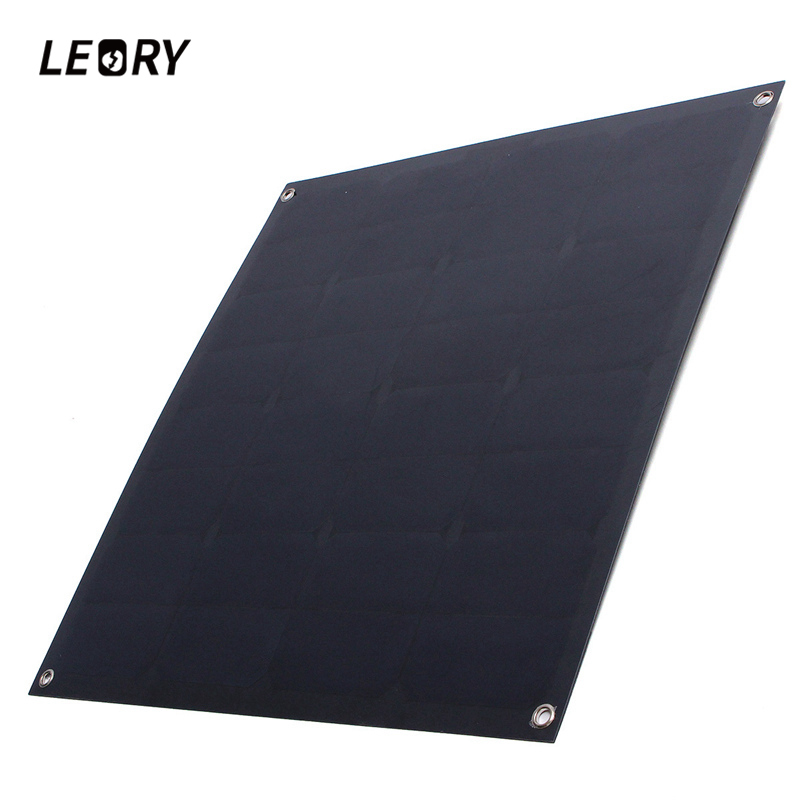 LEORY SP-16 50W 18V Solar Panel Monocrystalline Flexible Black Sunpower Battery Charger For Boat Caravan Camping Ourtdoor 50w 12v semi flexible monocrystalline silicon solar panel solar battery power generater for battery rv car boat aircraft tourism