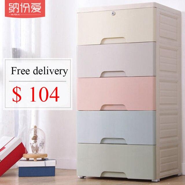 Top clothes storage box European style children's toy storage cabinet  Five-story organizer cabinet underwear drawer in bedroom