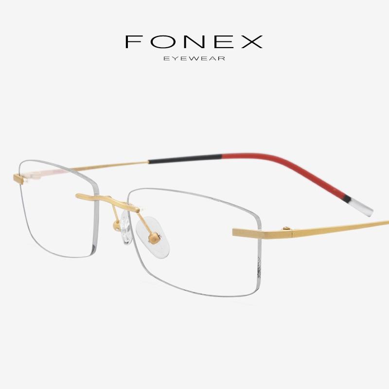 6f23a75e3083 Rimless Eyeglasses Frame Women B Titanium Ultralight Myopia Optical  Prescription Men Glasses Frames Frameless Korea Eyewear 9608