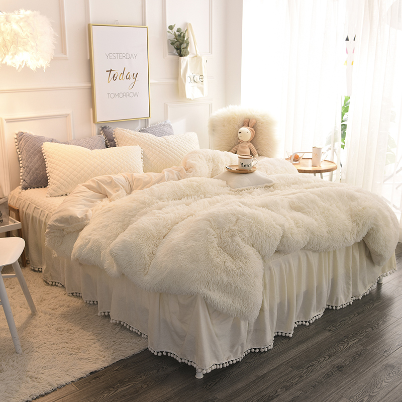 famvotar chic faux fur shaggy bedding set full 4 pcs set 1 comforter cover 1 ruffle quilted bedskirt 2 pillow shams velvet