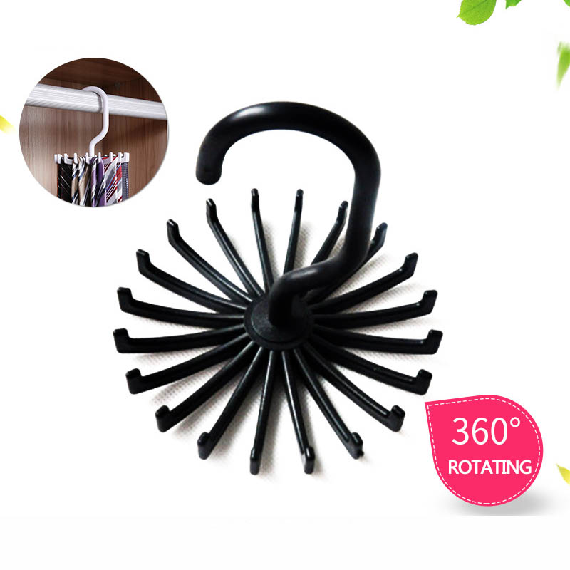 360 Degree Rotating Space Saving Belt Rack 1 PC Neck Tie Hanger Plastic Multifunction Neck Tie Holder 20 Hooks-in Hangers & Racks from Home & Garden