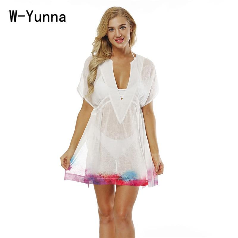 W-Yunna New Summer 3d Print Chiffon Women Dress V-neck Sexy Beachwear Bathing Dress Soft Robe Femme Loose Vestidos Verano 2018