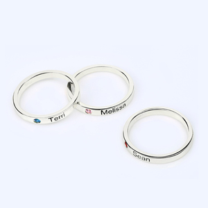 Image 3 - Personalized Stackable Engraved Name Rings with Birthstone Triple Stackable Ring 925 Sterling Silver Custom Jewelry