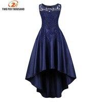 S 4XL Elegant Ladies Plus Size vestido Women Summer Lace Patchwork Sleeveless Irregular High Low Navy Blue Evening Party dress