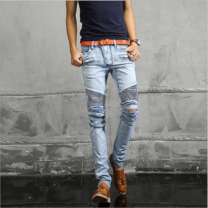Paris famous brand Mens fashion sky blue pleated ripped biker jeans slim  fit Men washed Stretch cotton skinny demin jeans pants