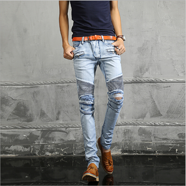 a5493e78 Paris famous brand Mens fashion sky blue pleated ripped biker jeans slim  fit Men washed Stretch cotton skinny demin jeans pants