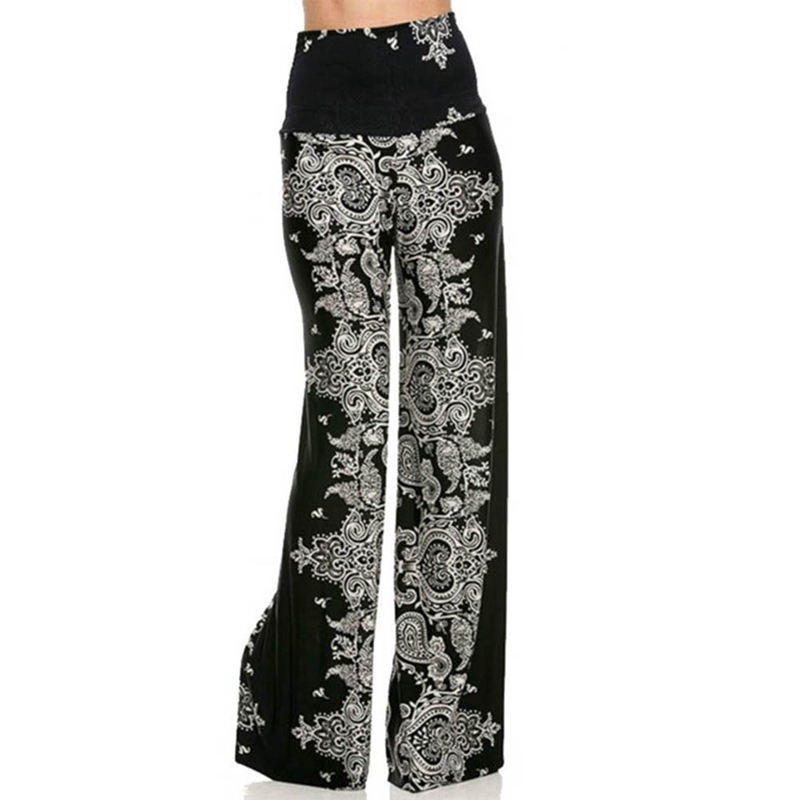 2018 Summer Bohemian Floral Pants High Waist Lace up Career Wide Leg Trousers Loose Pants New
