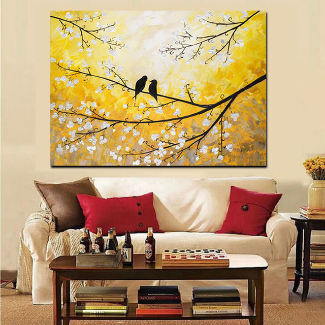 Wall Art Canvas HD Print Abstract Bird Tree Flower Gold Landscape ...