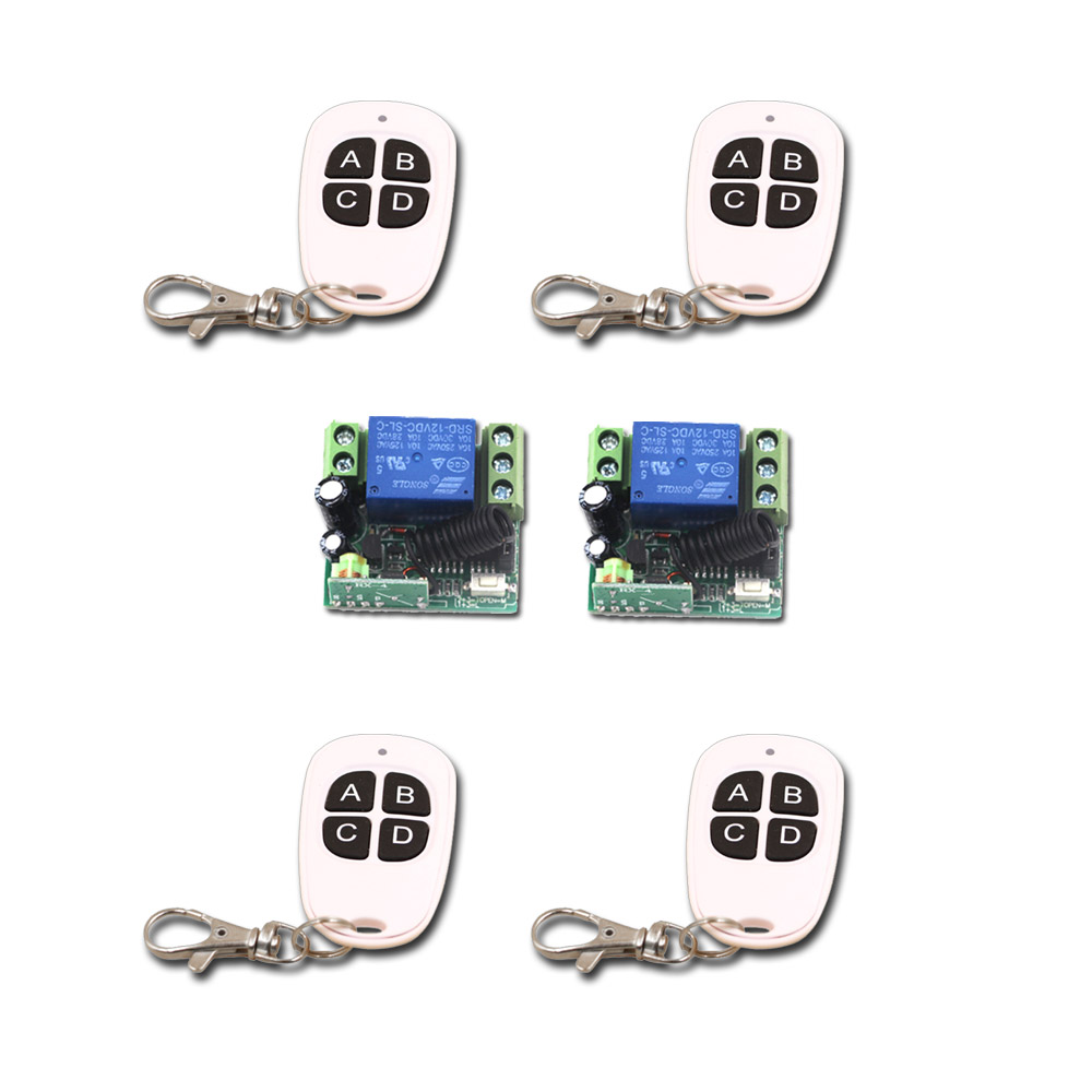 Top Quality Mini 12V Relay 1CH Wireless Remote Control Switch 4Transmitter+2 Receiver with 4Buttons 315/433mhz 4 relay ch wireless receiver