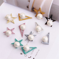 Wholesale 50PCs Lot Round White Pearls Decorated DIY Jewelry Findings Enamel Rudder Alloy Star Traingle Metal