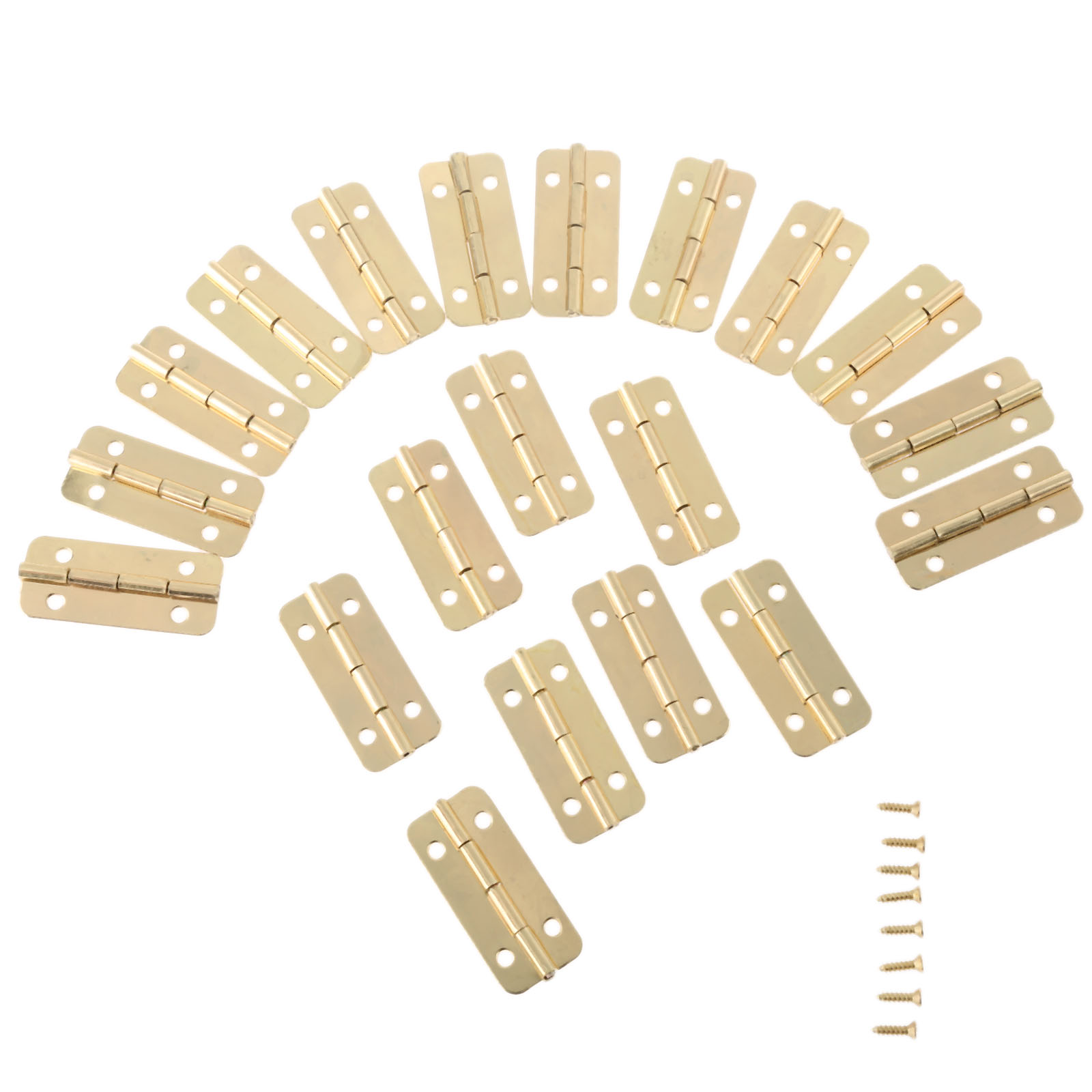 20Pcs Gold Furniture Hinges for Box Door Butt Decorative Small Hinge for Cabinet Drawer Furniture Hardware with Screw 37mmx17mm 2pcs 90 degree concealed hinges cabinet cupboard furniture hinges bridge shaped door hinge with screws diy hardware tools mayitr
