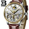 Швейцарские мужские часы люксовый бренд Бингер Сапфир Водонепроницаемый двойной турбийон автоматические механические часы Скелет B-8606M-9