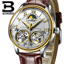 2017 NEW arrival men's watch luxury brand BINGER sapphire Water Resistant toubillon full steel Mechanical clock B-8606M-9