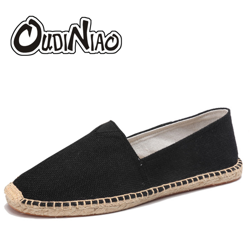 OUDINIAO Mens Shoes Loafers Slip-On Black White Breathable Solid Spring Canvas Hemp-Wrap