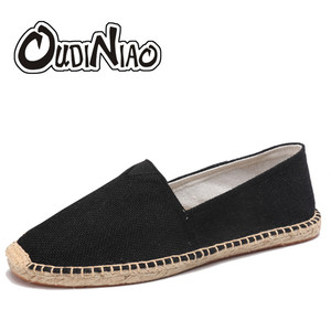 Image 1 - OUDINIAO Hemp Wrap Mens Shoes Spring Espadrilles Men Canvas Shoes Men Breathable Mens Loafers Slip On Solid Black White