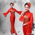 Disfraces Real Hmong Ropa Ropa 2016 Nuevo Otoño Fan Yangko Danza Folk Chino Phoenix Bordado Patrón Trajes de la Etapa