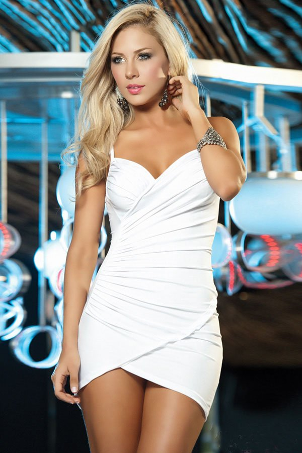 97c60cc0fe16 3 Color ON SALE Women night club wear Sexy mini slim halter dress Mini  fashion fold dress free drop shipping Yellow black white on Aliexpress.com