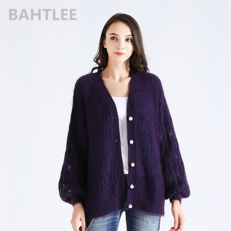 BAHTLEE autumn winter Women s Top of Mohair knitting Cardigan sweater Long lantern Sleeves Pearl button