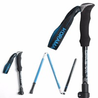 Long Type Carbon Aluminum Alloy Walking Stick 4 Sections Telescopic Anti-skid Walking Stick Trekking Climbing Pole
