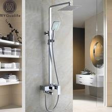 Chrome ванная комната набор для душа кран с 8 «ультратонкий Showerhead и Handshower поворотный ванной отрегулировать высоту