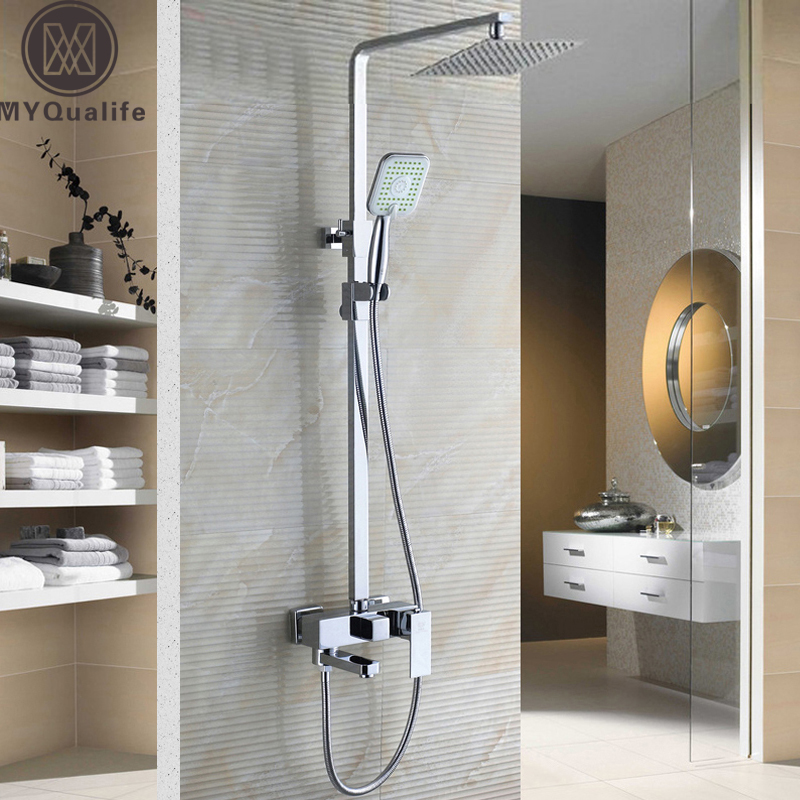 Chrome Bathroom Shower Set Faucet with 8 Ultrathin Showerhead and Handshower Swivel Bathtub Tap Adjust Height