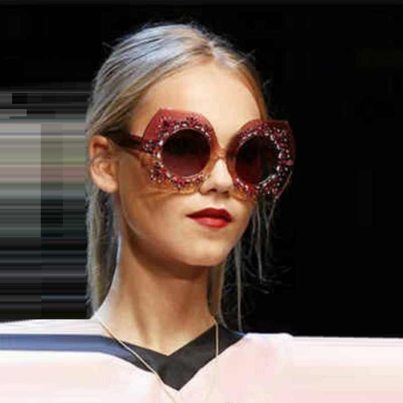 729031f0704e Новые Роскошные Хрустальный обод для женщин солнцезащитные очки для ретро  ...