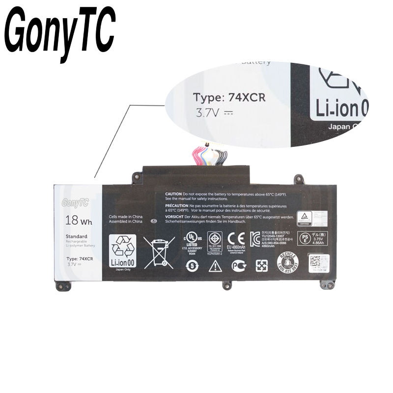 Image 3 - Gonytc 18Wh 3,7 V 74XCR 074XCR Оригинальный аккумулятор для ноутбука Dell Venue 8 Pro 5830 T01D VXGP6 X1M2Y Tablet Series подлинный аккумулятор-in Аккумуляторы для ноутбука from Компьютер и офис