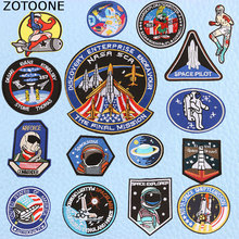 ZOTOONE UFO Astronaut Planet Space Parches Embroidered Iron on Patches for Clothing DIY Stripes Alien Badges Appliques E