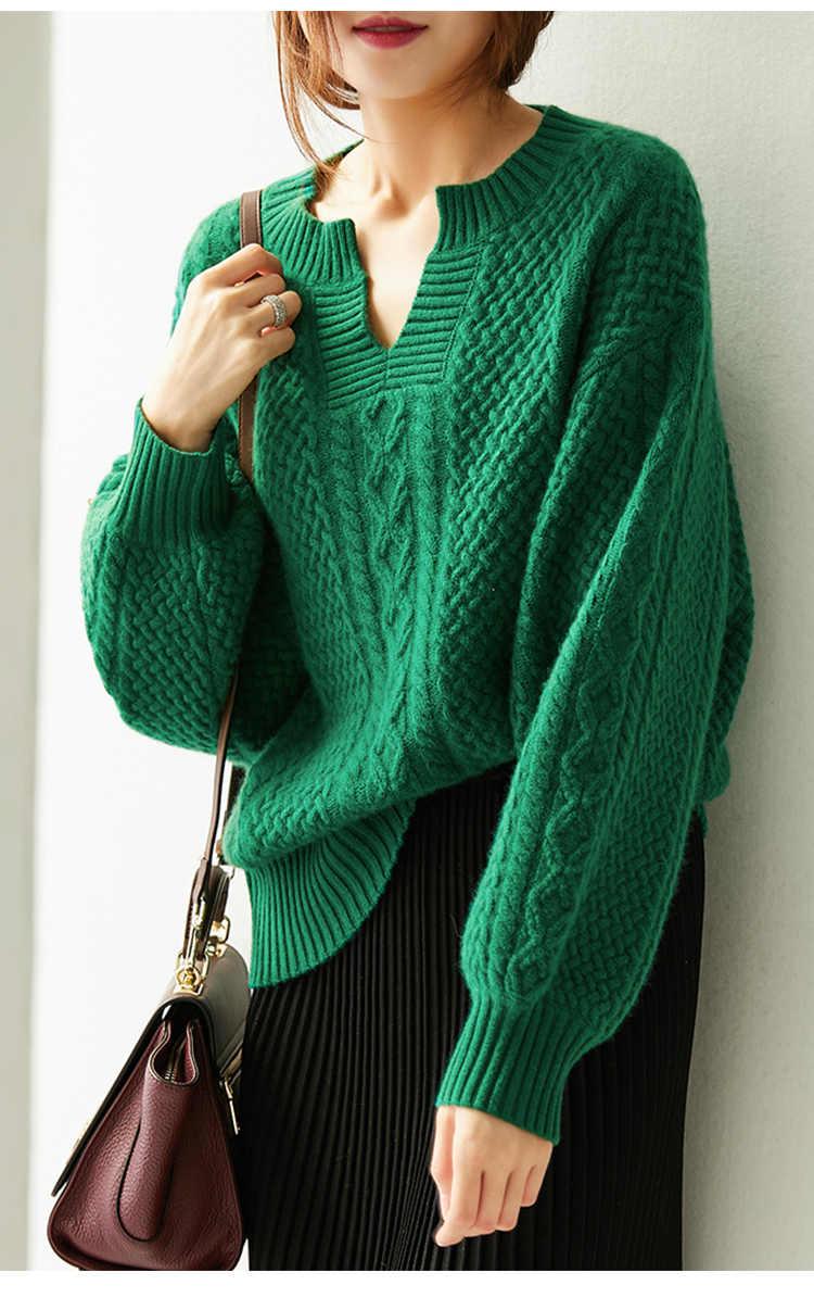 여성 스웨터 2018 새로운 겨울 패션 캐주얼 솔리드 v-목 스웨터 따뜻한 빈티지 느슨한 긴 소매 니트 풀오버 스웨터