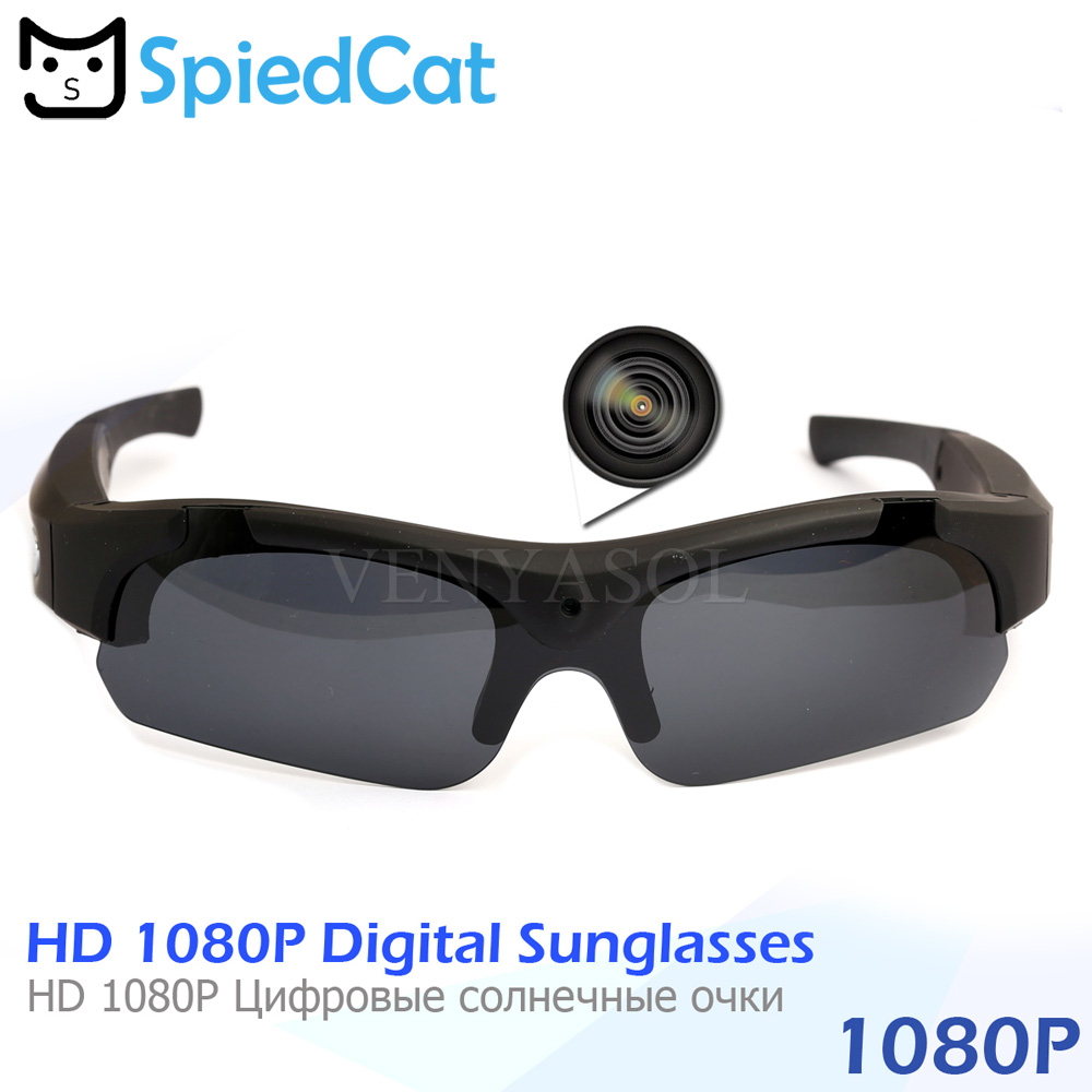 SPIED CAT FULL HD 1080P Polarized Mini Camera Sunglasses Digital Video  Recorder Glasses Sport Camcorder secret Outdoor black cam a550f94398