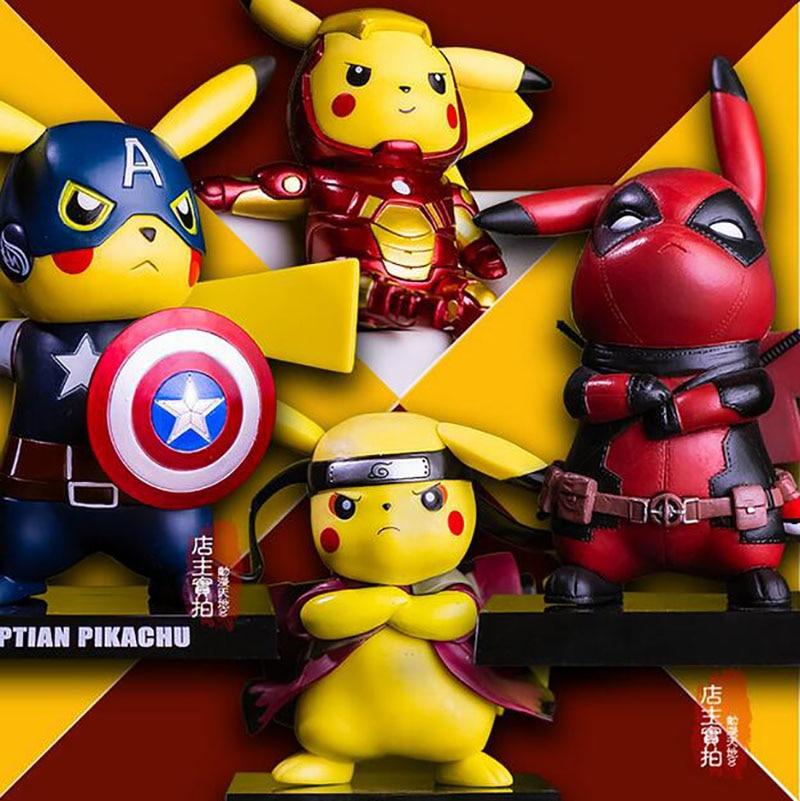 Pikachu Cosplay Deadpool Captain America Iron Man Super Mario Batman Kakashi Dragon Ball Flash PVC Figure Model Toy anime cartoon doraemon cosplay iron man captain america pvc action figure collectible toy