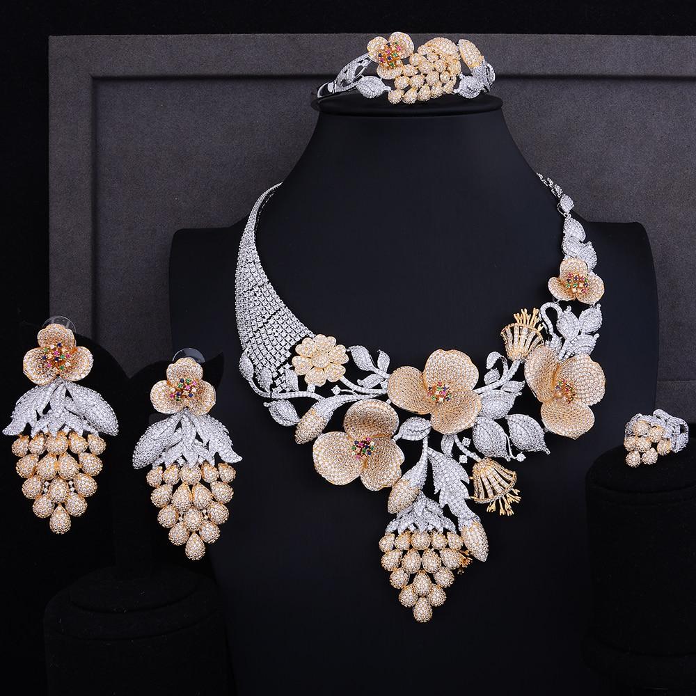 GODKI Luxury Grape Flower Fruit Cubic Zirconia African Indian Necklace Earring Set Nigerian Wedding jewelry sets For Women 2018