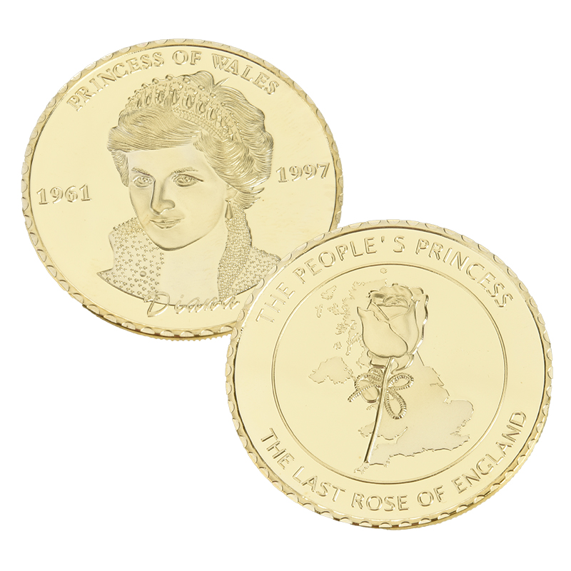SAE Fortion Wales Diana Princess Rose Coin Gold Plated Commemorative Coin Collectible Gift Commemorative Coin BTC013