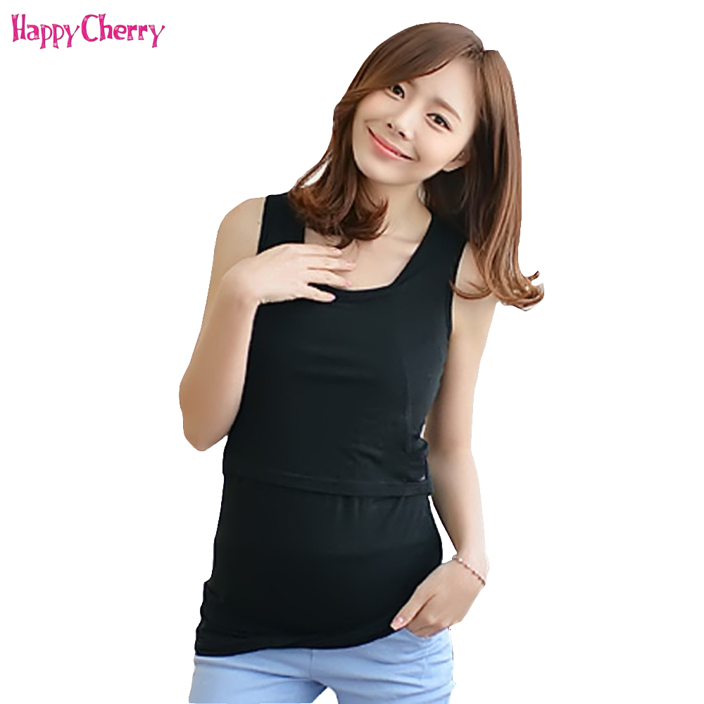 Happy Cherry Pregnant Women Tank Tops Vest Nursing Maternity Breastfeeding Shirts Cotton Clothes Pregnancy Underwear Clothing