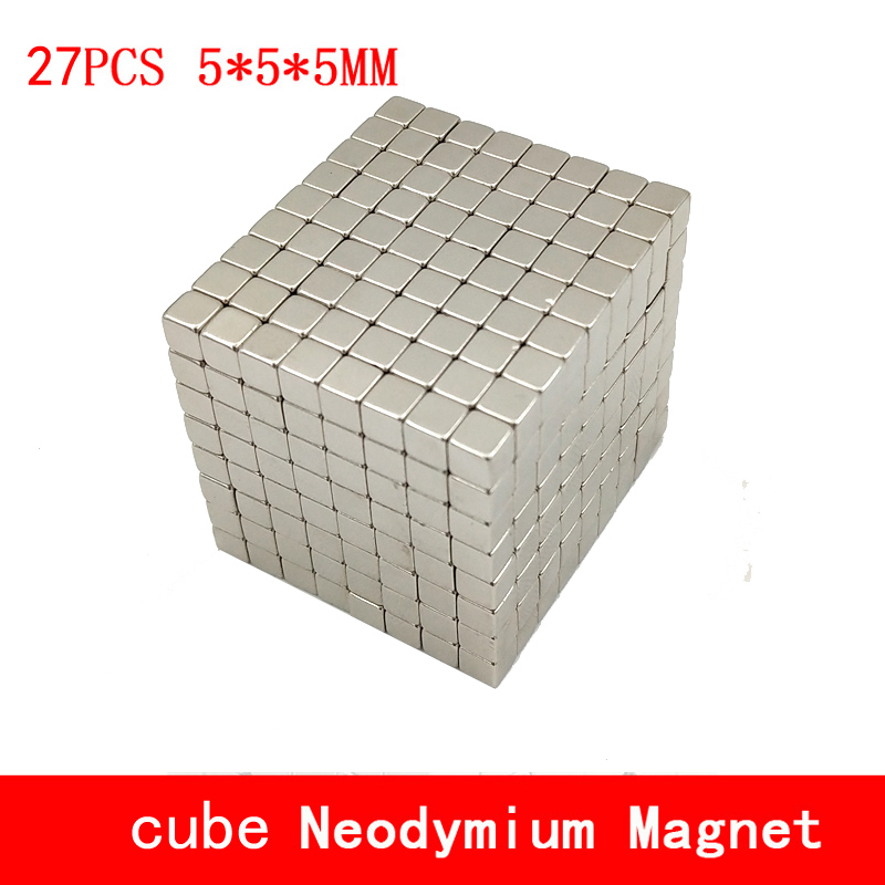 27pcs Neodymium magnet 5x5x5 Rare Earth small Strong block permanent 5*5*5mm fridge Electromagnet NdFeB nickle magnetic square 5 x 5mm cylindrical ndfeb magnet silver 30 pcs