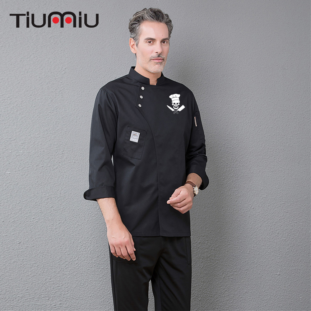 Funny Skull Print Chef Coat Long Sleeve Kitchen Restaurant Uniforms Food Service Hotel Barbershop Sushi Bakery Work Clothes