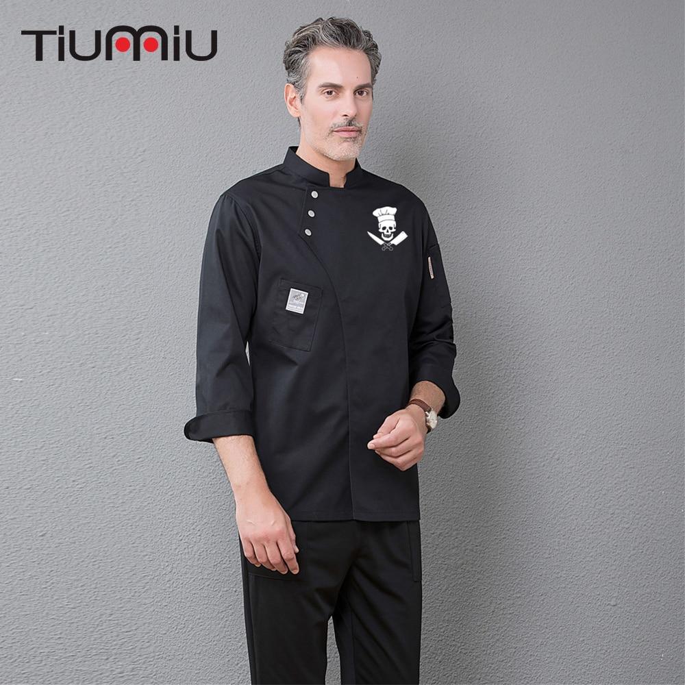Funny Skull Print Chef Coat Long Sleeve Kitchen Restaurant Uniforms Food Service Hotel Barbershop Sushi Bakery Work Clothes