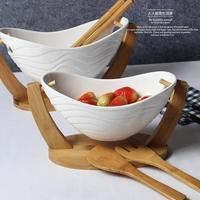 Bamboo ceramic salad bowl of fruit western food bowl dessert bowl large western style snack bowl of creative dishes