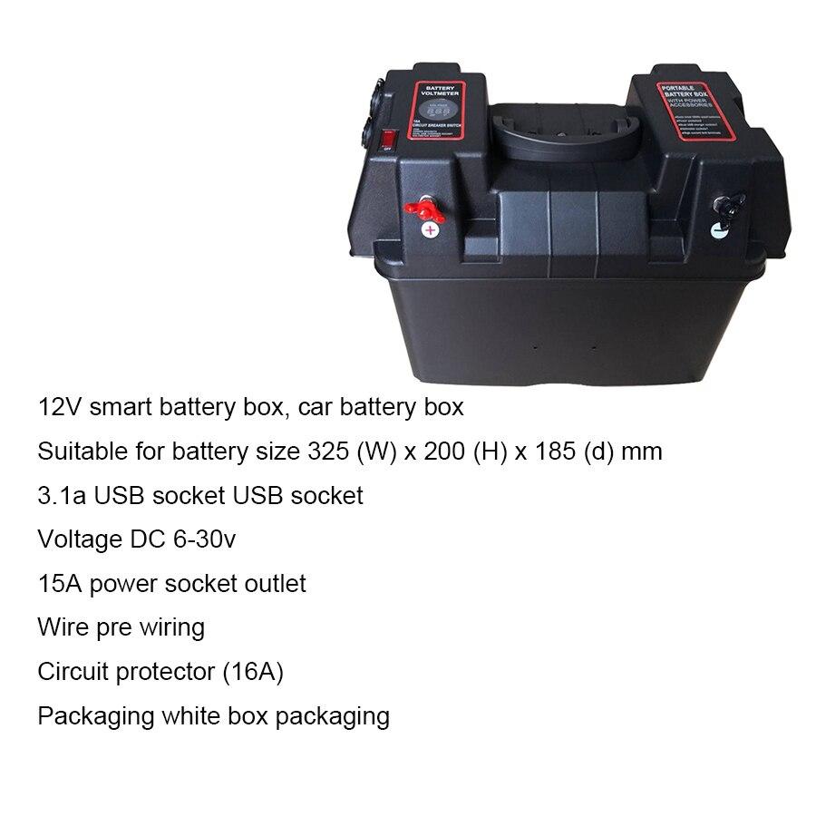 Multifunzionale Contenitore di Batteria con Voltmetro Calibro Caricatore USB per Barca CAMPER Auto Camion Marine - 5