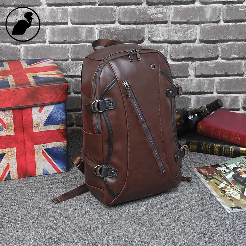 ETONWEAG Brands Cow Leather Backpacks For Teenage Girls Brown Vintage Zipper School Bags For Teenagers Punk Travel Backpack etonweag brands cow leather backpacks for teenage girls vintage brown school bags for teenagers preppy travel small backpack